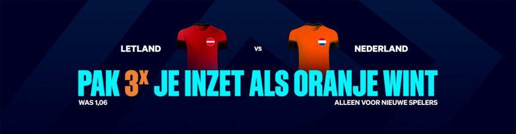 3X odds promotie Letland vs Nederland